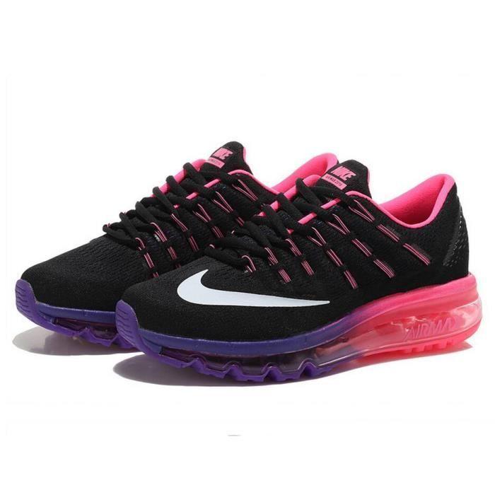 air max 2016 femme noir et violet,Femmes Nike Air Max 2016 Baskets Chaussures de running noir rose